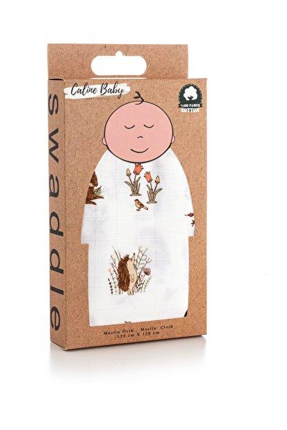 Caline Baby Müslin Bezi Örtü Kirpi Desen - Sarı 120x120 Cm + 4 Adet Ağız Mendili