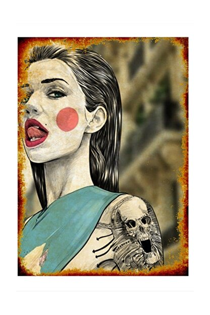 Tablomega Kırmızı Yanaklı Dövmeli Kadın Model Ahşap Tablo