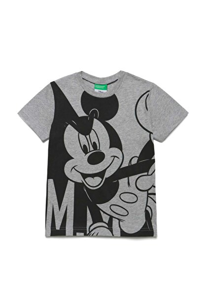 Benetton Gri Melanj Çocuk Mickey Mouse Tshirt