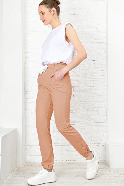 Trend Alaçatı Stili Kadın Bisküvi Paçası Lastikli İki İplik Eşofman Altı ALC-X4022