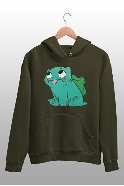 Angemiel Wear Balbazar Pokemon Yeşil Erkek Kapüşonlu Sweatshirt Çanta Kombin