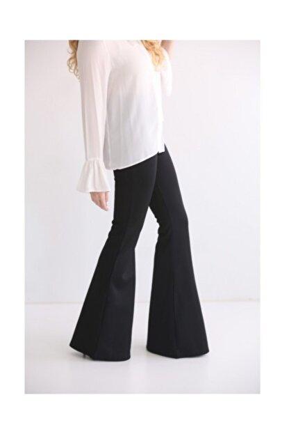Modaonna Siyah Yüksek Bel Ispanyol Pantolon