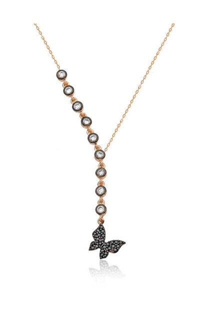 Gumush Kadın Gümüş Sıra Taşlı Kelebek Kolye PT2610701