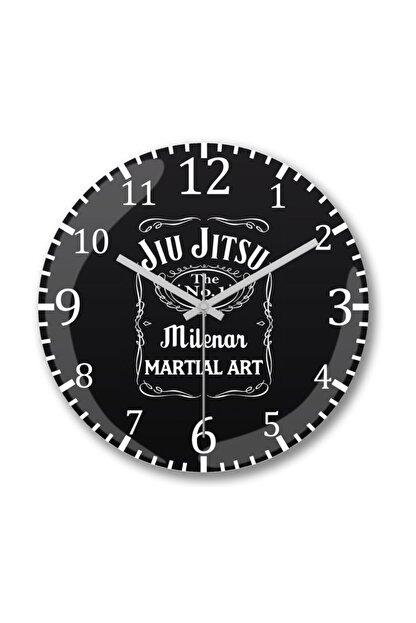 Baskı Dükkanı Jiu Jitsu Whiskey Tag Duvar Saati Bombeli Gercek Cam
