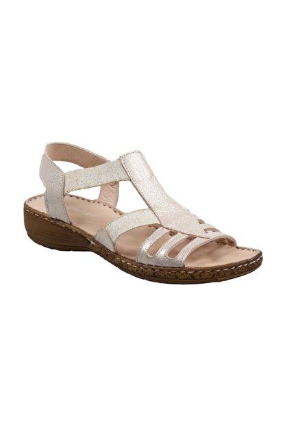 CATELLİ Kadın Ortapedik Bej Hakiki Deri Sandalet
