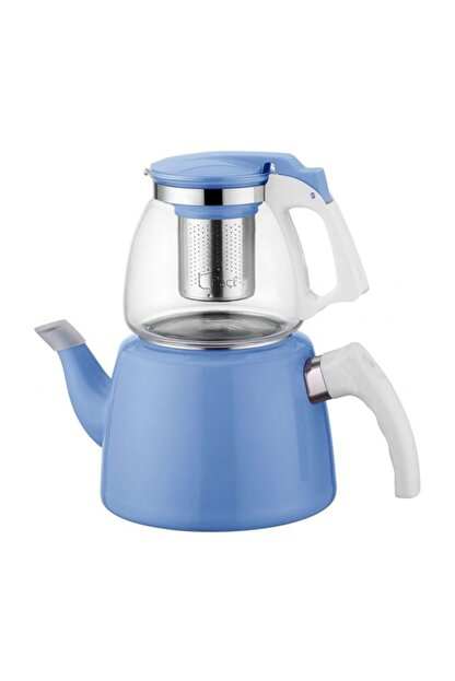 EWs Koyu Mavi Cam Emaye Çaydanlık Seti