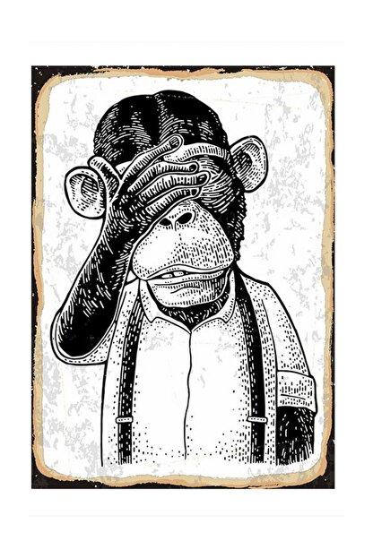 Tablomega Üzgün Maymun Tasarım Ahşap Tablo 25x35cm