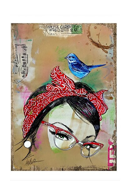 Tablomega Mavi Kuş Art Mdf Tablo
