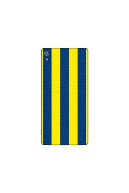 KAPAK OLSUN Sony Xa Ultra Sarı Lacivert Çubuklu Telefon Kaplaması
