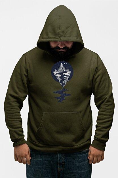 Angemiel Wear Dağ Nehir Motifleri Yeşil Erkek Kapüşonlu Sweatshirt