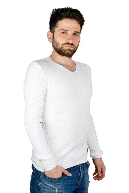 Mcr Erkek Kazak Triko Beyaz Renk 11101