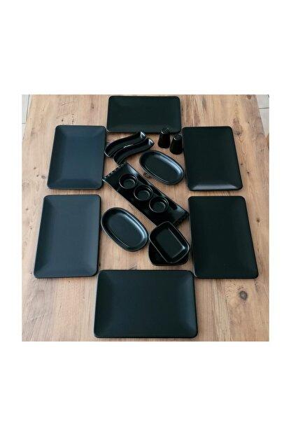 Demet Çeyiz Mat Siyah Kare Siera Keramika Takım Kahvaltı 18 Parça 6 Kişilik