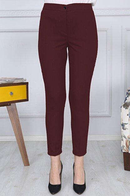 Gül Moda Bordo Kemerli Dar Paça Kumaş Pantolon Likralı Cepsiz G011
