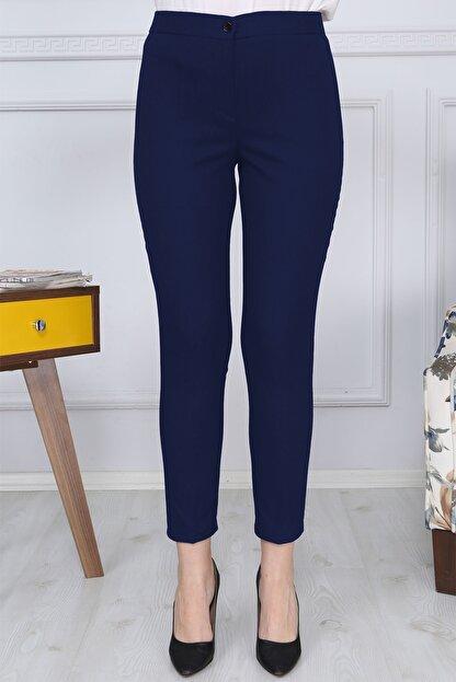 Gül Moda Lacivert Kemerli Dar Paça Kumaş Pantolon Likralı Cepsiz G011