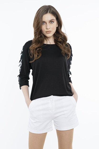Hadise Kadın Siyah Siyah Dirsek Kol Yaprak Pullu Bluz 3463