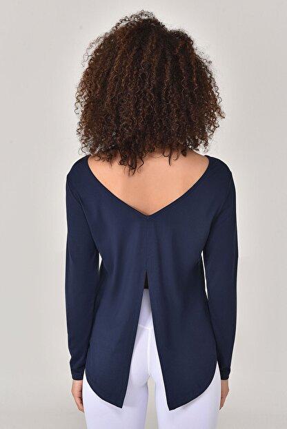 bilcee Lacivert Kadın Uzun Kol T-Shirt GS-8108