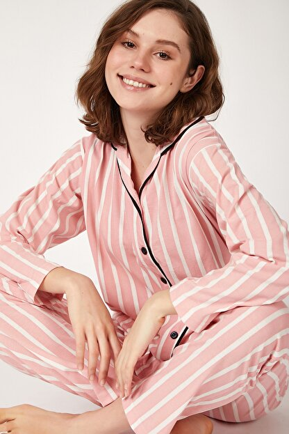 Happiness İst. Kadın Koyu Pembe Çizgili Pamuklu Örme Pijama Takımı GL00001