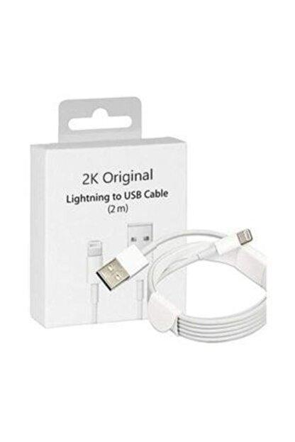 2K Original Apple iphone uyumlu Lightning usb Şarj kablosu  2m (ithalatçı Garantildir) TM-Apple2mt