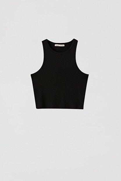 Pull & Bear Kadın Siyah Fitilli Kolsuz Crop Top 05236344
