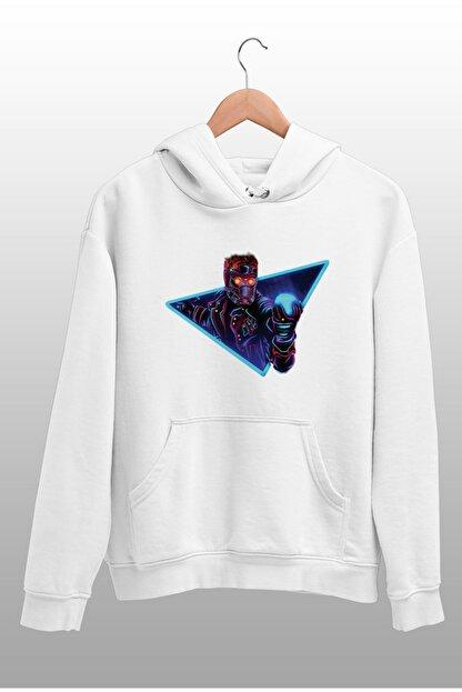 Angemiel Wear Starlord Beyaz Kadın Kapüşonlu Sweatshirt Çanta Kombin