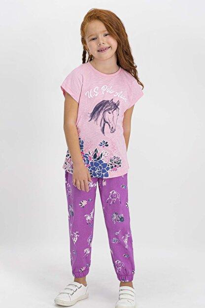US Polo Assn U.s. Polo Assn Lisanslı Somon Kız Çocuk Pijama Takımı
