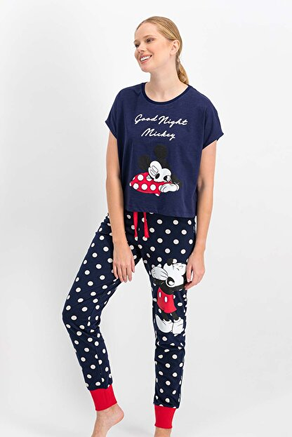 Mickey & Minnie Mouse Kadın Mickey Mouse Lisanslı Lacivert Pijama Takımı