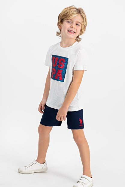 US Polo Assn Lisanslı Krem Erkek Çocuk Şort Takım