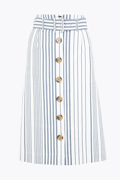 Marks & Spencer Kadın Lacivert Düğmeli Çizgili Etek T59007468