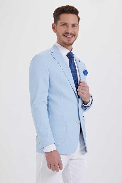 Hatemoğlu Desenli Slim Fit Mavi Ceket 14291018C091