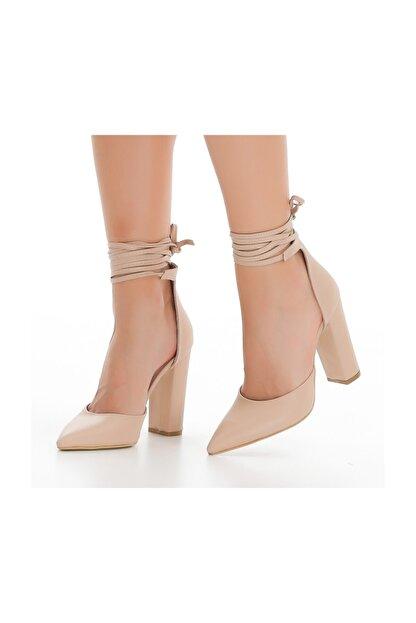 sothe shoes Ten Deri Bayan Topuklu Ayakkabı Stiletto Kalın Topuk Kadın Ayakkabı
