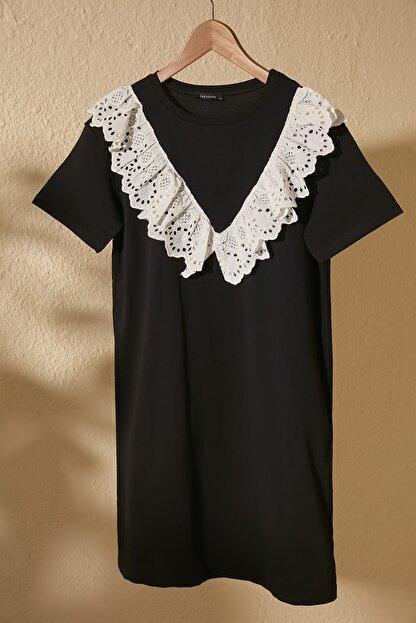 TRENDYOLMİLLA Siyah Dantel Detaylı Örme Elbise TWOSS20EL2819
