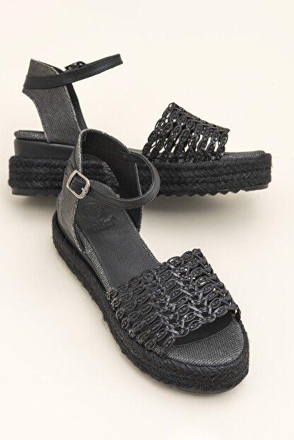 Elle ROWE Siyah Kadın Sandalet