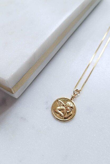 New Obsessions Kadın Sarı Melek Madalyon Kolye