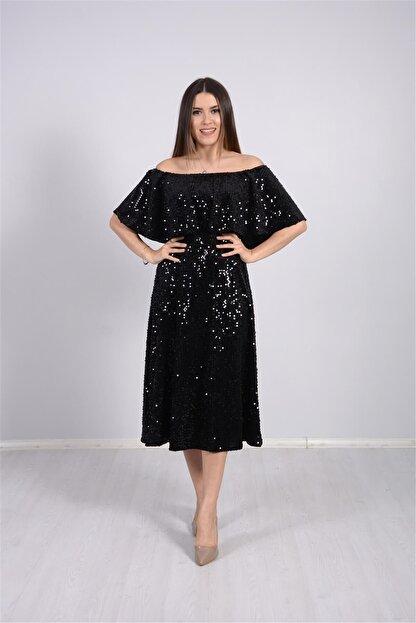 giyimmasalı Payet Tasarım Elbise - Siyah
