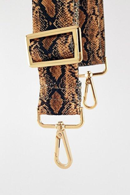 FAEN Kum Yılan Desenli Çanta Askısı Gold Metal