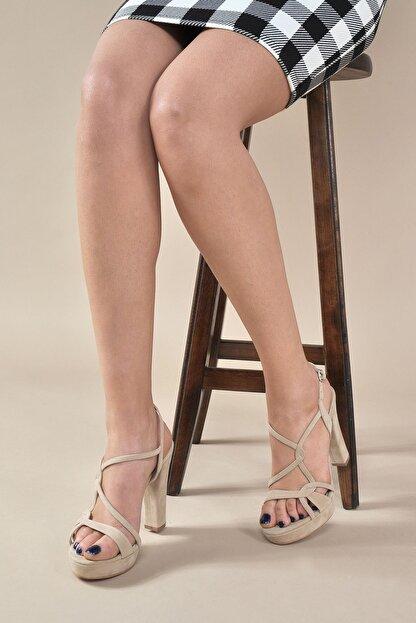 Vizon Ayakkabı Kadın  Ten-Süet Klasik Topuklu Ayakkabı VZN20-034Y
