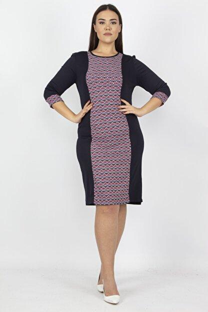 Şans Kadın Lacivert Garni Detaylı Elbise 65N15779