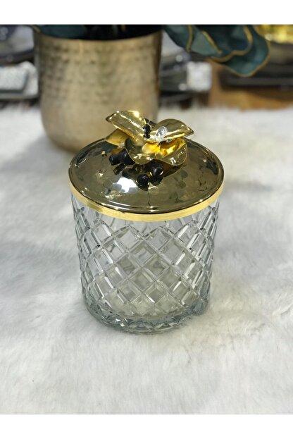 SELECT Altın Orkideli Kesme Cam Kavanoz
