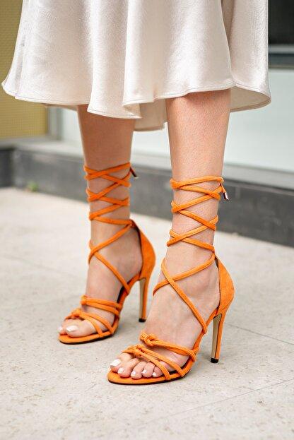 MYPOPPİSHOES Turuncu Süet Kadın Topuklu Ayakkabı