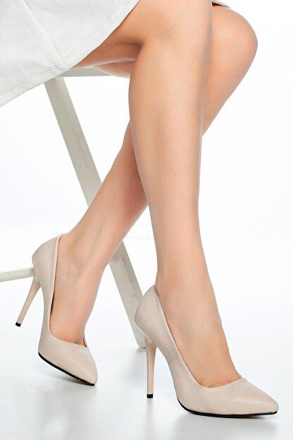 Moda Değirmeni Ten Cilt Kadın Klasik Topuklu Ayakkabı Md1004-119-0011