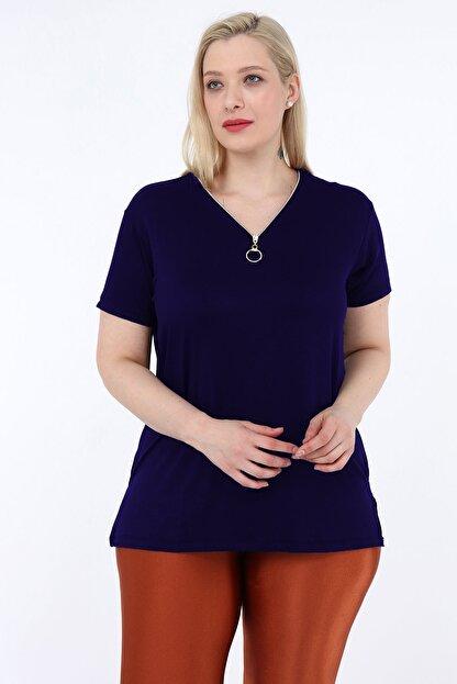 Heves Giyim Kadın Lacivert Büyük Beden Fermuarlı Tişört