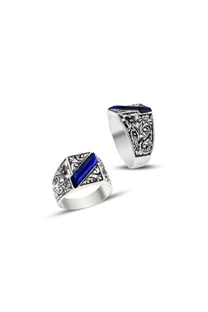 Tesbihane Erzurum El Işi Mavi Mineli Gümüş Yüzük