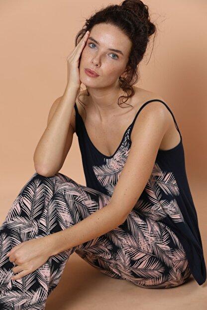 Siyah İnci Ip Askılı Viskon Pijama Takım