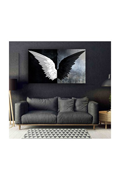 My canvas Siyah Beyaz Kanatlar Tuval Kanvas Tablo