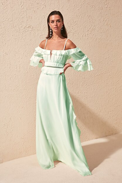 TRENDYOLMİLLA Mint Kol Detaylı Volanlı Şifon Abiye & Mezuniyet Elbisesi TPRSS19FZ0278
