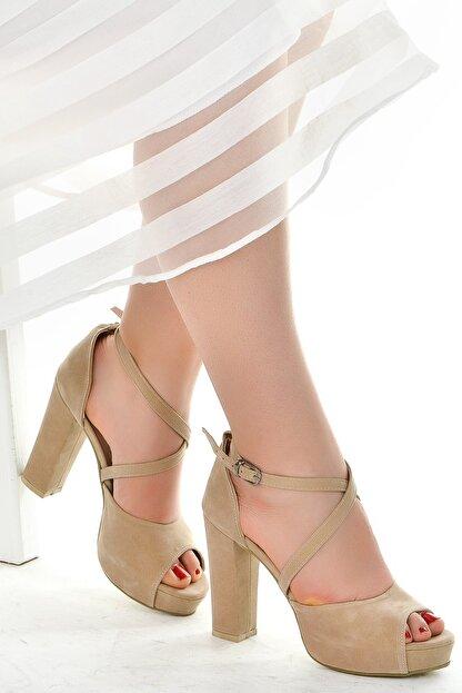 Ayakland Süet Abiye 11 Cm Platform Topuk Kadın Sandalet Ayakkabı 3210-2058