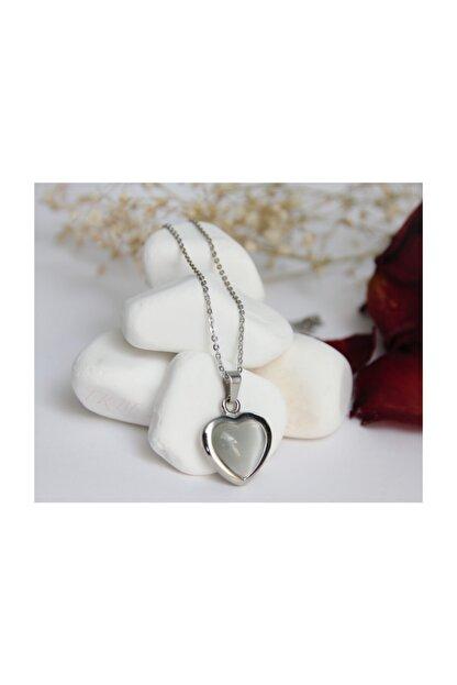 ERBE Paslanmaz Çelik Kalp Gri Taşlı Gümüş Rengi Kolye