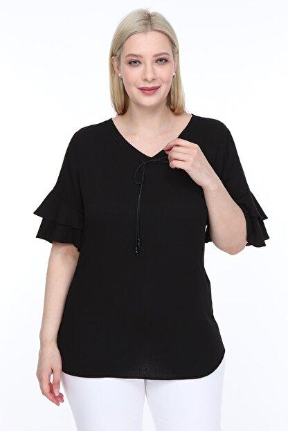 Lir Kadın Büyük Beden Volanlı Kol Bluz Siyah