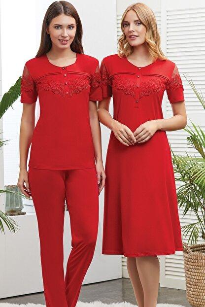 Lohusa Sepeti Francisca Kırmızı Lohusa Pijama Ve Gecelik Seti - 418328