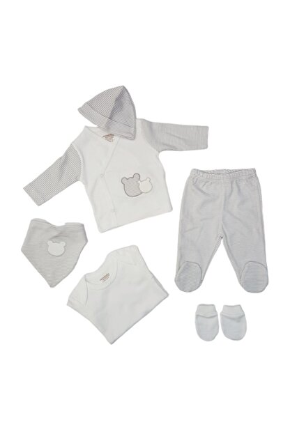 Ciccim 4330 Erkek Bebek Ayıcık Işlemeli 6'lı Hastane Çıkışı